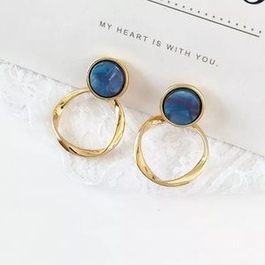 Jewelry - Gold and Blue Drop Earrings